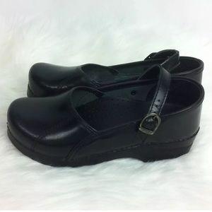 Dansko Sz 38 US 7.5/8 Black Mary Jane Clogs Shoes
